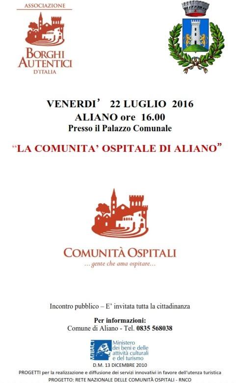 LA COMUNITA' OSPITALE DI ALIANO