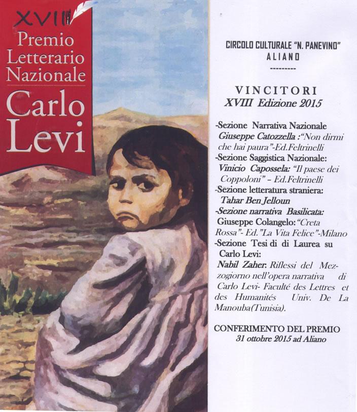Vincitori Premio Letterario  Carlo Levi  XVIII EDIZIONE 2015